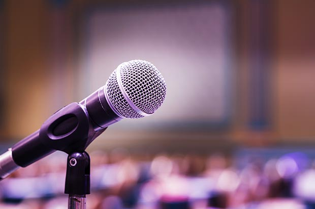 Close,Up,Old,Microphone,In,Conference,Room
