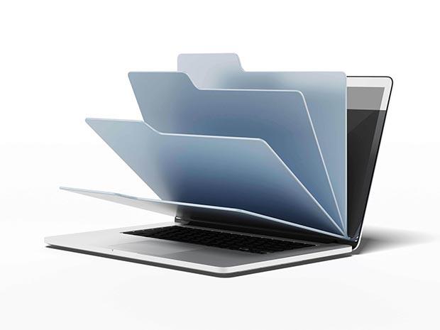 Laptop,With,Blue,Folders